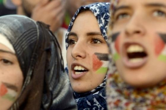 Faces with flag painted